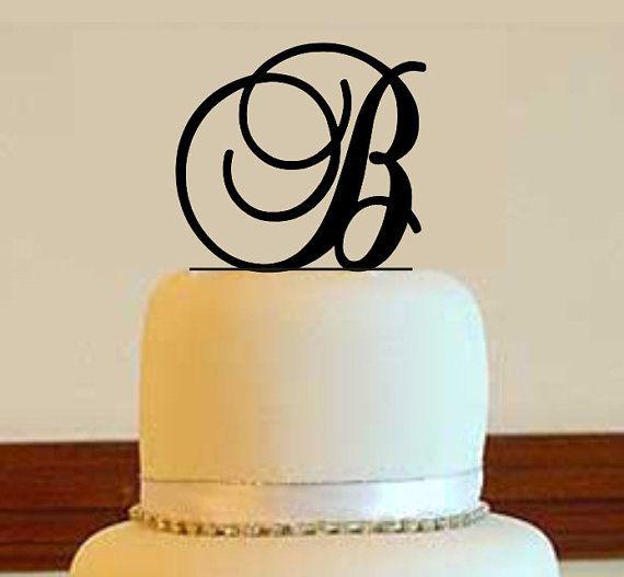 Initial+Cake+Topper++Wedding+Cake+Topper++Custom+by+Mclaserpro,+$15.00