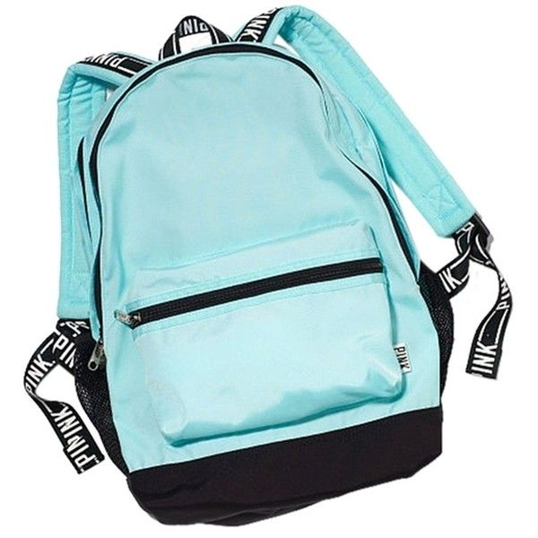 Pre-owned Pink By Victoria's Secret Light Blue Campus Backpack ($115) ❤ liked on Polyvore featuring bags, backpacks, backpack laptop bag, knapsack bags, laptop pocket backpack, pre owned bags and shoulder strap bag