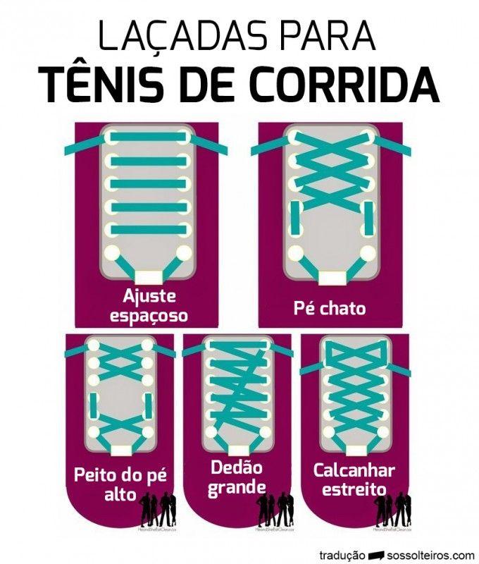 Laçadas diferentes para tênis de corrida