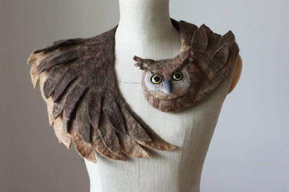 Good Owl stole felted wool animal scarf от celapiu на Etsy