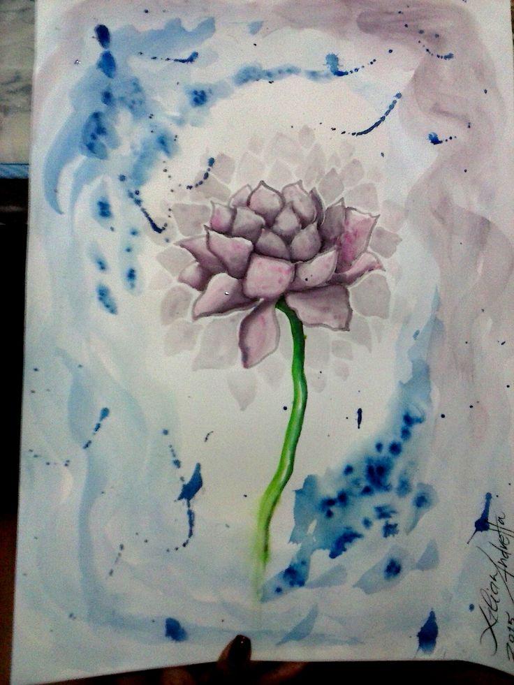 Testando aquarela nova em flores lótus, pelo que ando apaixonada nos últimos dias ;)