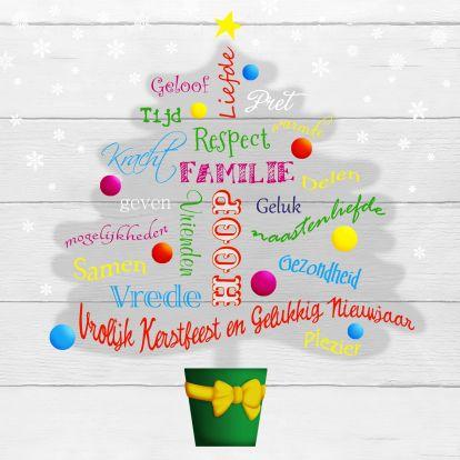 Hippe kerstboom vol woorden met betrekking tot Kerst en Nieuwjaar, in het engels! Trendy Christmas tree with words and wishes with regards to Christmas and Newyear.