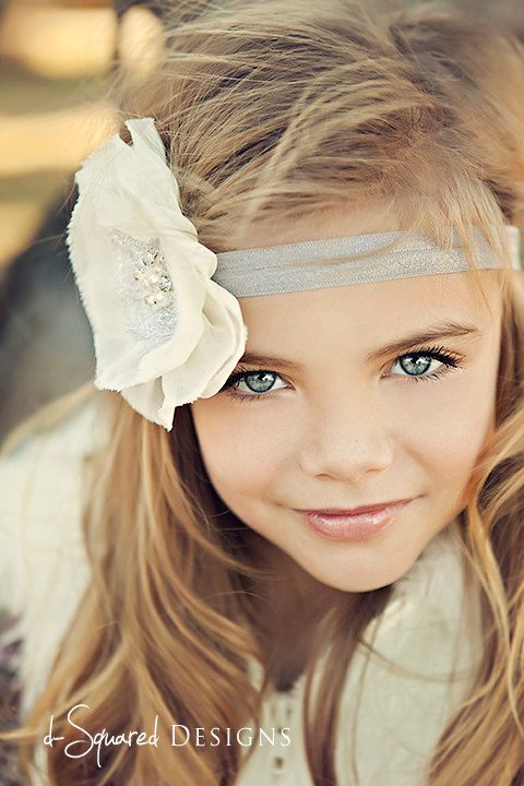 Baby Flower Headband- Wedding Headband- Natural White Ruffled Chiffon Flower on Soft Light Grey Elastic Headband. $6.95, via Etsy.