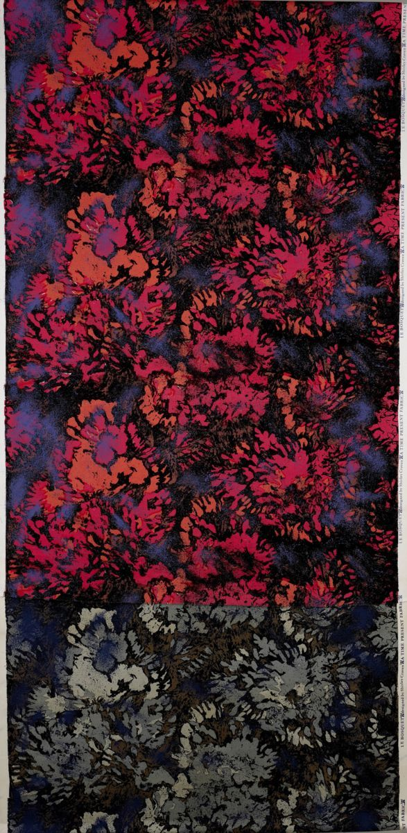 Le Bosquet 1962 Shirley Craven  Semi-abstract design of lush, richly coloured blooms