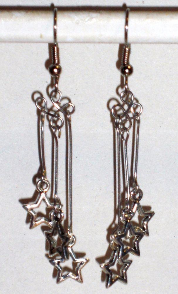 Ohrringe Stern Astronomie Horoskop Damen Ohrschmuck Modeschmuck Hänger Silber