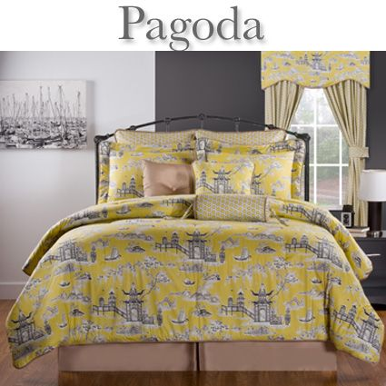 Delectably Yours Com Pagoda Yellow Amp Grey Bedding