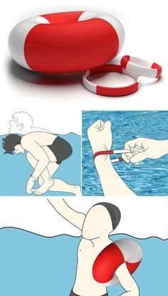 A bracelet that is designed to save your life. In the event of drowning pull on the bracelet and it inflates to help you float.