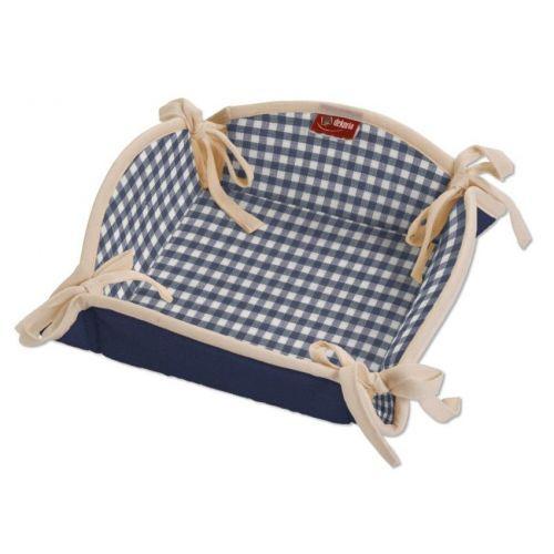Dekoria Koszyk na pieczywo 2 tkaniny w kolekcji Quadro. Kwadratowy koszyk na pieczywo, z kokardkami, wykończony lamówką, której kolor może być dobrany w zależności od tkaniny.