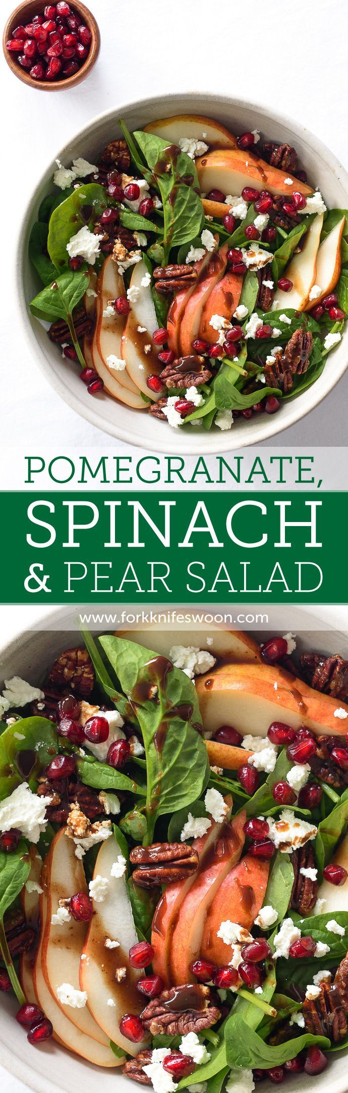 A healthy and fresh Spinach and Pear Salad with Goat Cheese, Pomegranate, and Candied Pecans - this is a colorful, crowd-pleasing salad that is perfect for the holidays! via forkknifeswoon.com