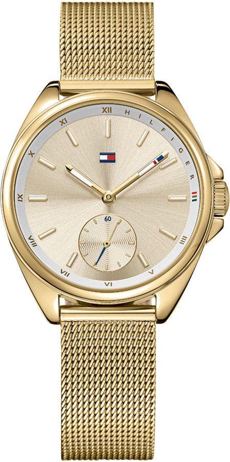 Tommy Hilfiger Women's Casual Sport Gold-Tone Mesh Bracelet Watch 36mm 1781757