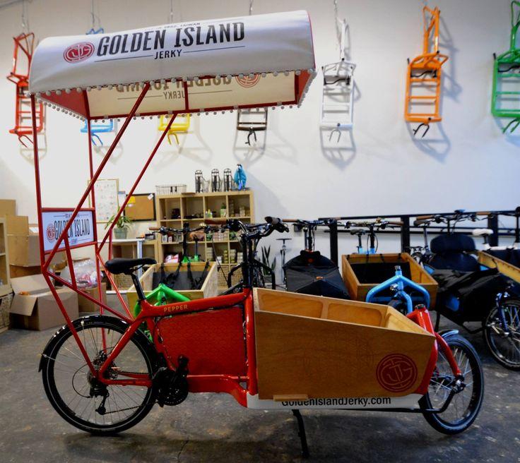 Golden Island Jerky (www.goldenislandjerky.com) did a great job branding this Bullitt Pepper for a marketing campaign: custom built canopy, logo wrap on Billboard and frame, logo on a Nomad wood box.