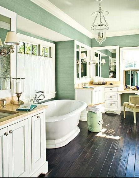 besides the gorgeous tub, i love the wall color. the thought of wood floors in a bathroom scares me though..