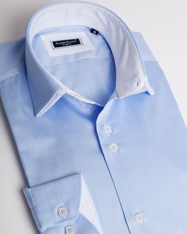 Double collar shirt | Red and white striped pattern and turquoise line