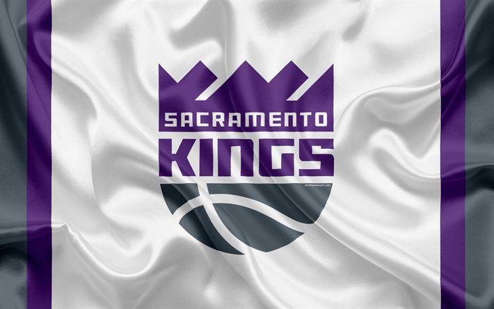 Download wallpapers Sacramento Kings, basketball club, NBA, emblem, new logo, USA, National Basketball Association, silk flag, basketball, Sacramento, California, US basketball league, Pacific Division