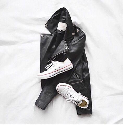 Leather moto jacket and white converse. #flatlay #flatlayapp