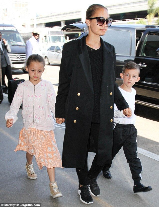 Family flyaway! Nicole Richie andher two children - Harlow, aged eight, and Sparrow, six ...