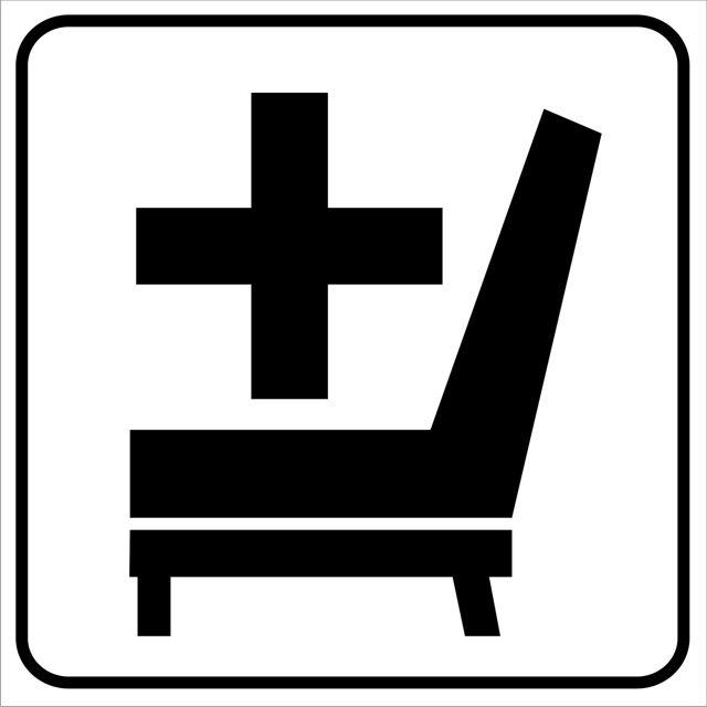 Naklejka Miejsce dla Inwalidy. Oznaczenie określa miejsce siedzące dla osoby niepełnosprawnej w pojeździe transportu zbiorowego...
