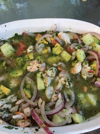 Aquachile is essentially a very spicy version of ceviche typically made with shrimp (camarones in Spanish).  Aguachile is best served cold. As such, keep your shellfish chilled at all times as it will not have enough time to cool properly while marinating. If its a particularly hot day, rest your shellfish on a plate of ice as you work to ensure that it remains cold.