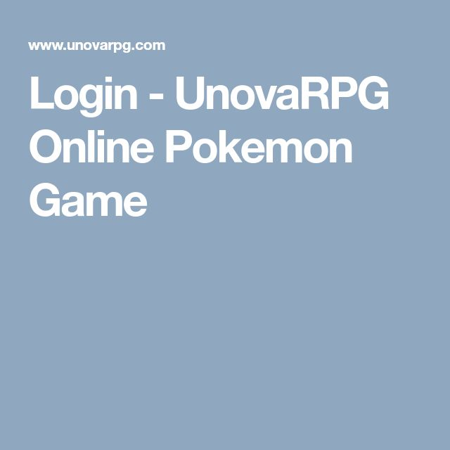 Login - UnovaRPG Online Pokemon Game