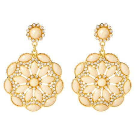 Roselyn Earrings in White Jade