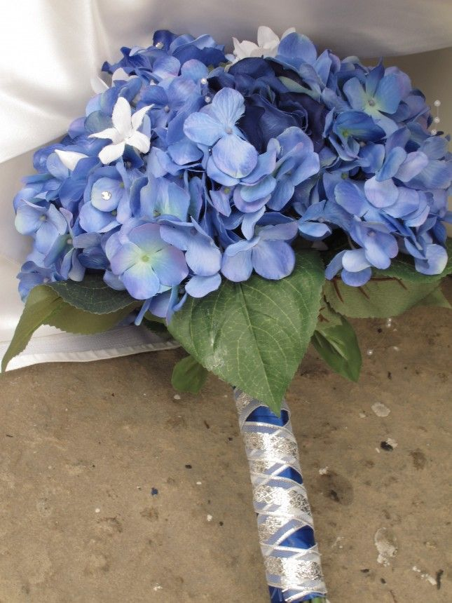 Finished Blue Hydrangea Bouquet.....in case we can't find the other...