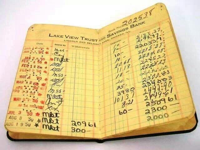 Retro bank savings book
