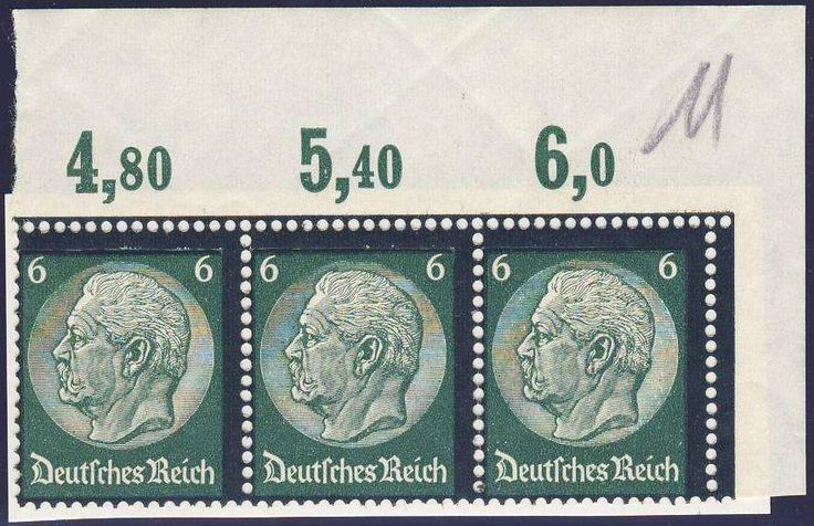 Germany, German Empire, Deutsches Reich 1934, Hindenburg Trauer, 6 Pfg.-Plattendruck, waagerechter 3er-Streifen aus der oberen rechten Bogenecke, postfrisch Pracht (postfr., Mi.-Nr.550 P/Mi.EUR 90,--). Price Estimate (8/2016): 15 EUR.