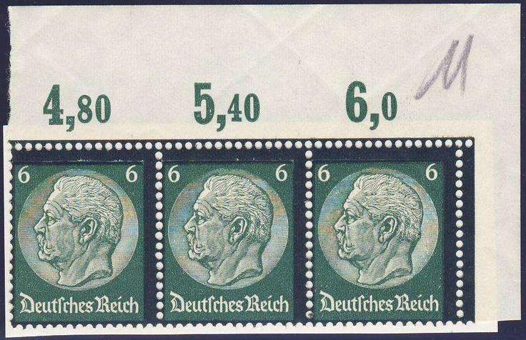 Germany, German Empire, Deutsches Reich 1934, Hindenburg Trauer, 6 Pfg.-Plattendruck, waagerechter 3er-Streifen aus der oberen rechten Bogenecke, postfrisch Pracht (postfr., Mi.-Nr.550 P/Mi.EUR 90,--). Price Estimate (8/2016): 15 EUR.