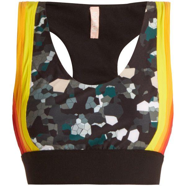 NO KA'OI Lani contrast-panel performance bra ($114) ❤ liked on Polyvore featuring activewear, sports bras, racerback sports bra, striped sports bra and racer back sports bra