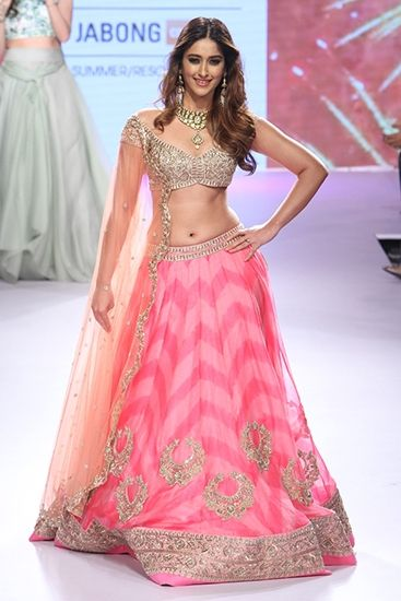 Anushree Reddy pastel pink and silver lehenga