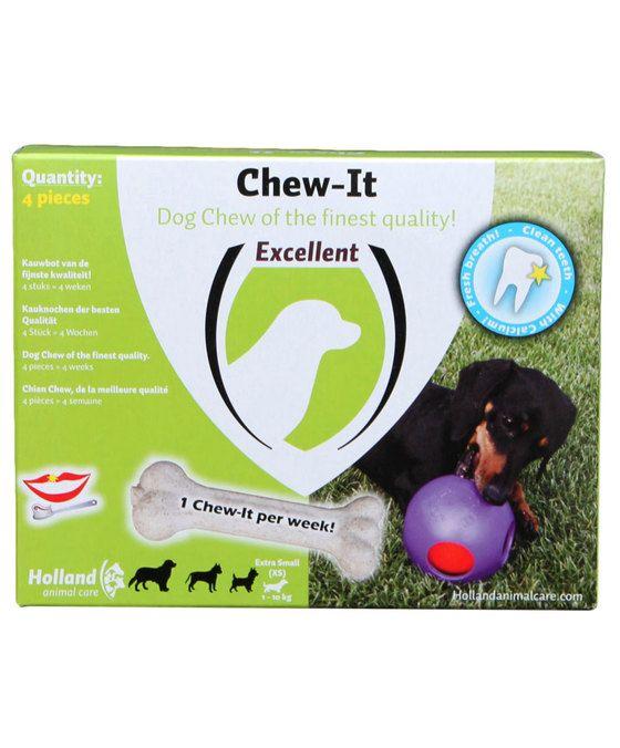 Excellent Chew-it Eén per week  Chew-it one per week is een gegoten bot met een speciale vormgeving. Hierdoor lijkt het natuurgetrouw op de hardheid van een echt bot. Het verzorgt de tanden en tandvlees grondig. De hond moet er echt op kauwen en produceert daarmee speeksel om tandplak en tandsteen te verwijderen. Chew-it one per week is het perfecte bot voor gebitsverzorging omdat de hond van nature behoefte heeft aan kauwen. Geeft veel kauwplezier.  EUR 9.95  Meer informatie