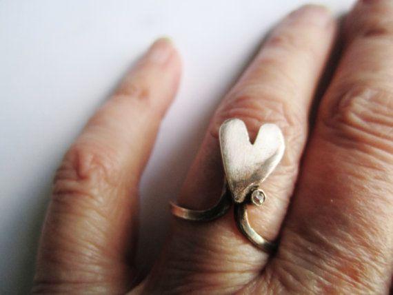 Sterling Heart Ring ./. Cubic Zircona Bead ./. by BijouxEmmElle