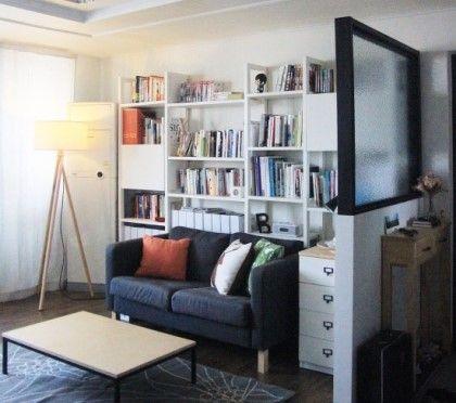 북카페 거실 인테리어 - 화이트&블랙 2가지 컨셉, 현관 가벽 ...