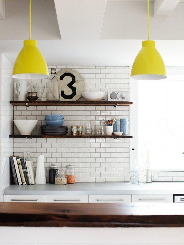 kitchen with open shelves Medicine Cabinets, Kitchens, Medicine Chest, Open Shelves, Subwaytile, Design Kitchen, White Subway Tile, Pendants Lights, Subway Tiles