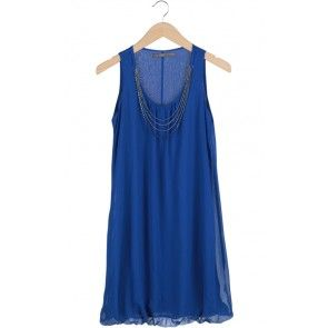 Royal Blue Metal Beaded Back Midi Dress