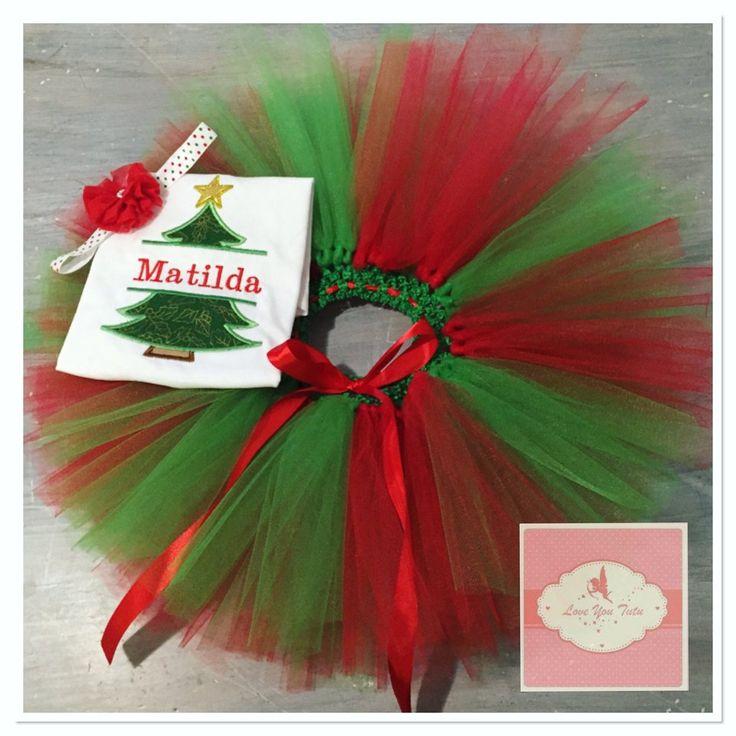 Embroidered personalized Christmas tree tutu set