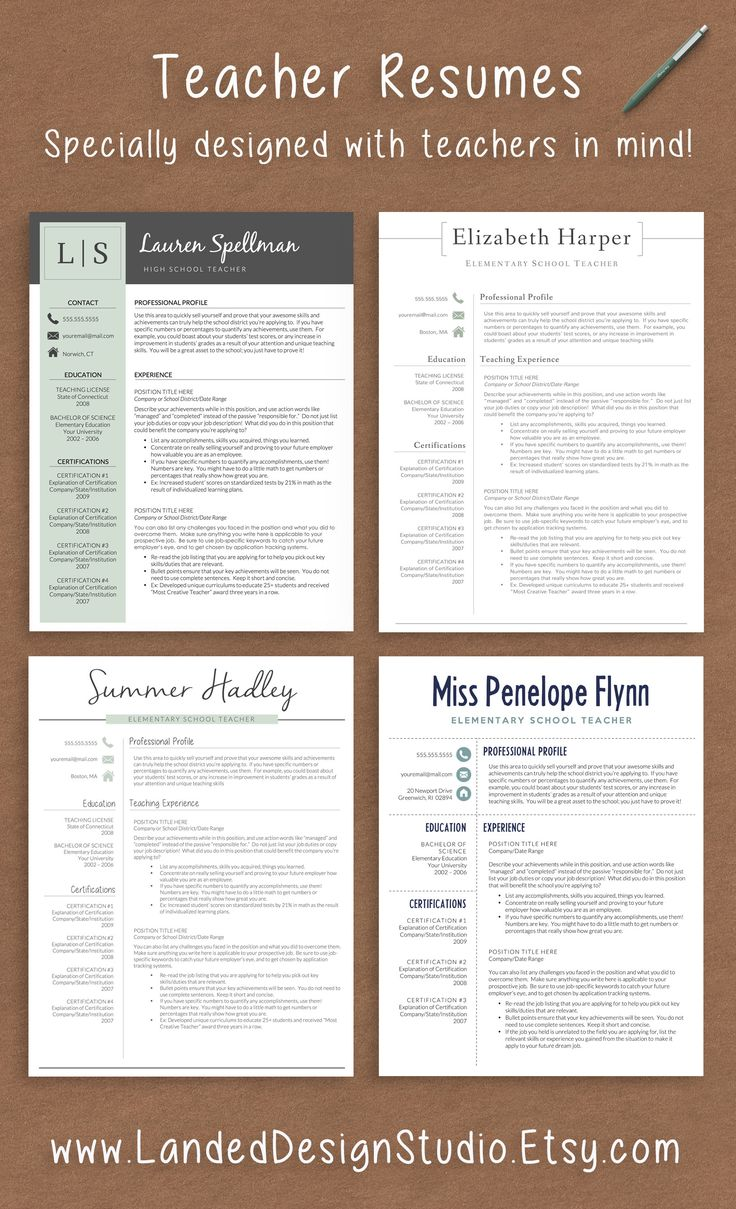 Professionally designed teacher resume templates for Mac & PC.  Completely transform your resume with a teacher resume template for $15.  www.getlanded.com