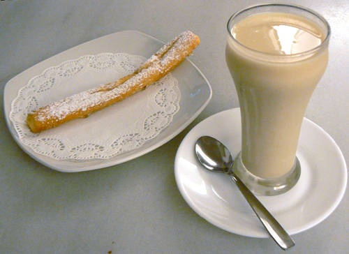 Winter is over! Here in Valencia it's  time for horchata and fartons. Horchata is a drink made from the tiger nuts, water, and sugar. Fartons are like sweet sugar coated bread sticks. You can dip the fartons in the horchata :)