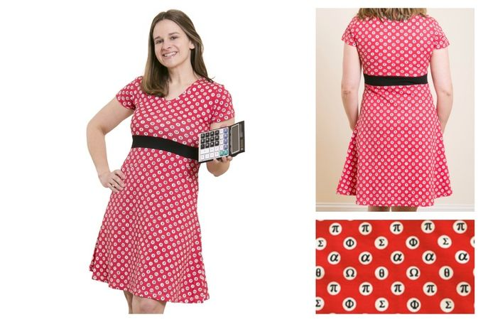 Math Inspired Mathematical Symbols Polka Dot Dress - Your love for this design will be completely irrational! This organic cotton dress features an all-over print red and white mathematical symbols polka dot design. This short-sleeve dress has a V-neckline, empire waistline with a flattering black waistband, and a flared skirt featuring pockets. Available in women's 2-4X