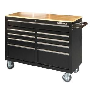 Always thought this would be a cool salon station style. An Industrial modern look. Husky 46 in. 9-Drawer Mobile Workbench with Solid Wood Top-HOTC4609B1QBD at The Home Depot