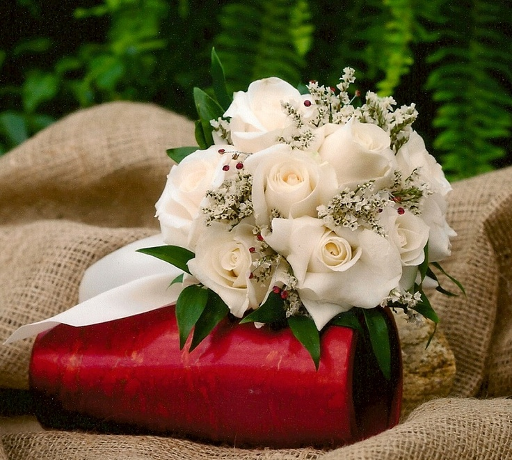 Flowers Ivory Roses with a touch of red bling