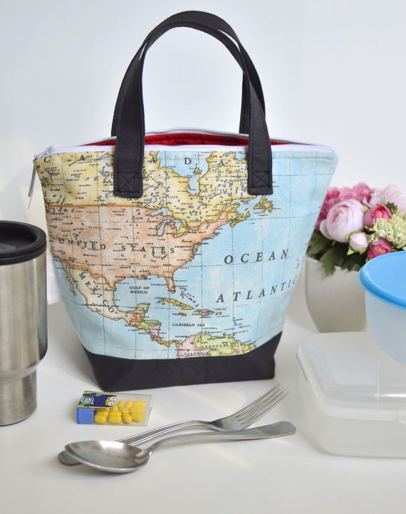 Insulated lunch tote for women World map lunch bag Reusable