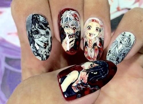 Tokyo ghoul nail art. THIS IS OMGGG