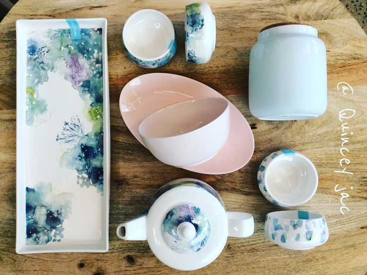 Beautiful watercolour florals #kitchen #teapot #pastels #watercolor #florals #soft #gifts #homewares #quinceyjac