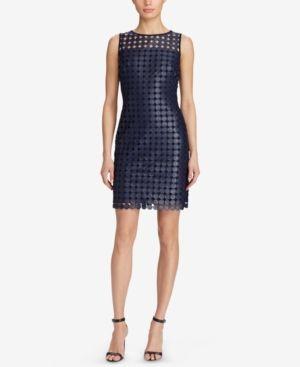 Lauren Ralph Lauren Petite Metallic Lace Dress - Navy/silver Foil 16P