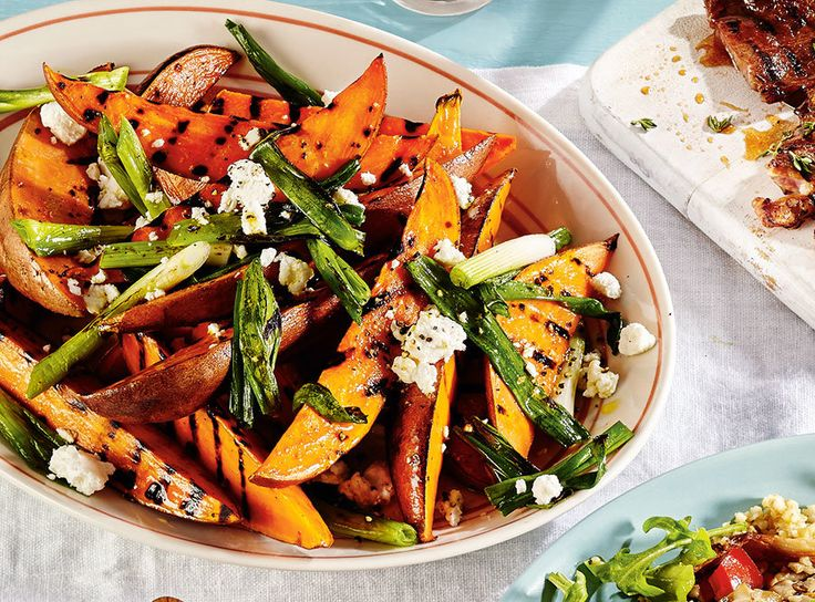 Our grilled sweet potato salad with goat cheese is a lighter take on poutine. Try it as a side dish at your next barbecue. Happy Canada Day! Photo by Maya Visnyei.