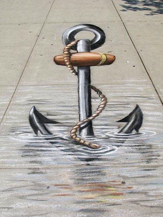 Michael Macaulay 3D chalk street art