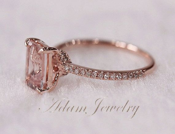 Pink Emerald Cut VS Morganite Ring SI/H Diamonds Wedding Ring 14K Rose Gold/ White Gold Engagement Ring/ Promise Ring/ Anniversary Ring