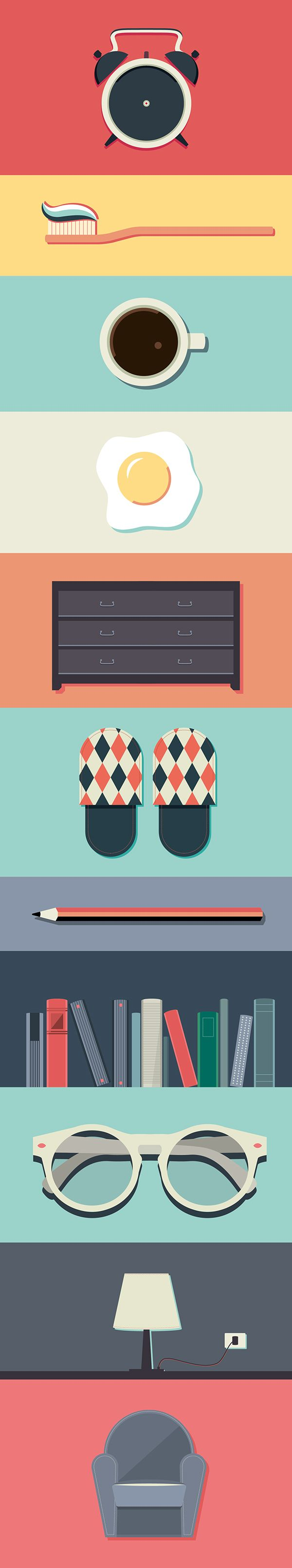 Set of flat icons inspired by daily life.