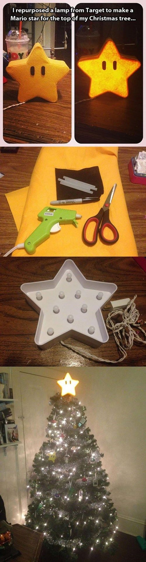 DIY Super Mario Brothers Star Tree Topper | Nintendo NES craft
